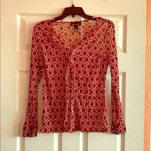 Sheer long sleeve patterned blouse